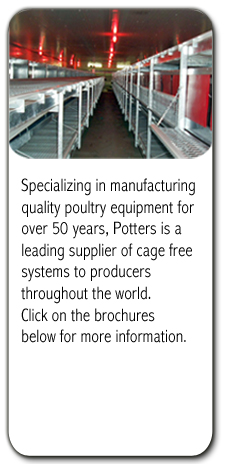Potters is leading manufacturer of cage free systems