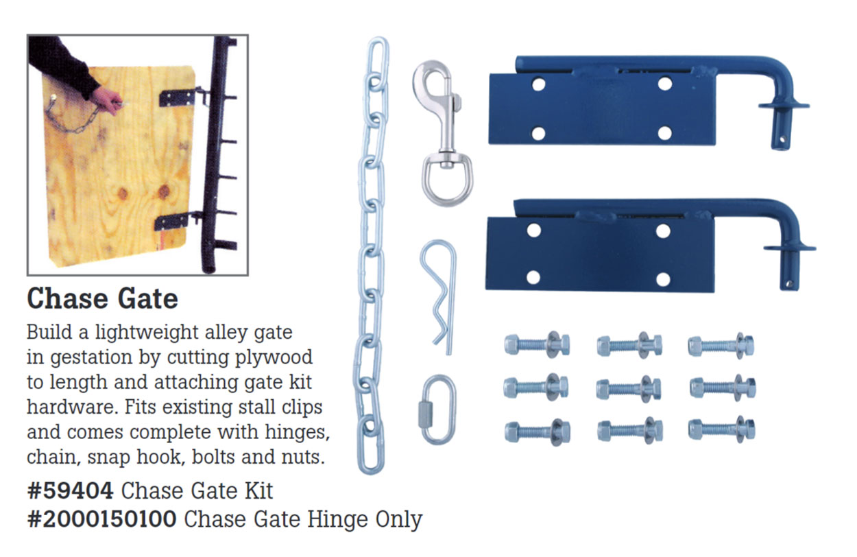 The Hog Slat Chase Gate Kit provides an easy, convenient way to build alley doors that assist with moving sows through the barn.