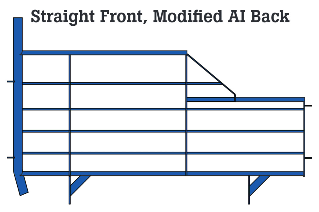 Straight front and Modified-AI back gestation stall design. Available in blue powder coated epoxy painted or hot-dipped galvanized finishes.