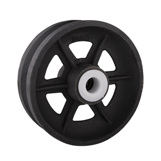 """Picture of Cast Iron 6"""" V-Groove Corner Wheel"""