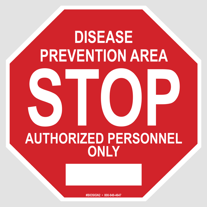 Biosecurity Stop Sign Disease Prevention Area Hog Slat
