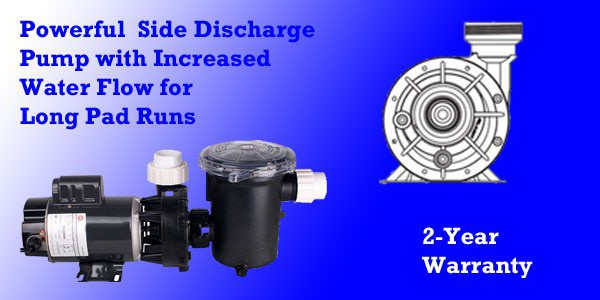 Side discharge design delivers high volumes than competitors center discharge pumps so water reaches the ends of long pad runs.  3/4 hp pump is available in 115 or 230 models.