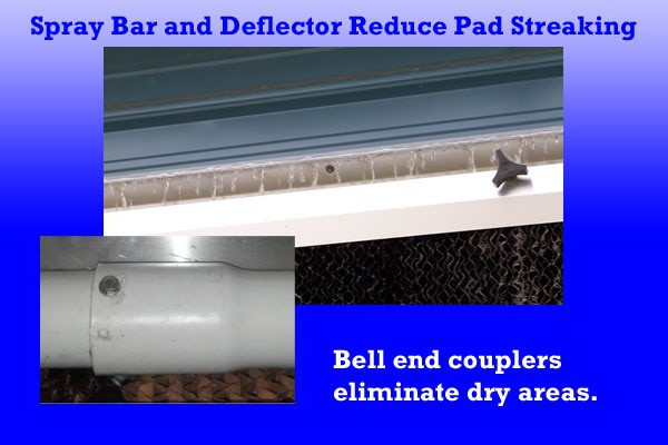 The Evap System features a large capacity spray bar with more holes per running foot to reduce pad streaking.  Attaching the sections with bell connectors eliminates the dry areas in the pad common with coupled spray bars.