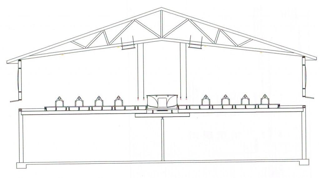 Cross section with plastic flooring and nests suspended above pit
