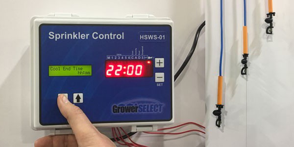 GrowerSELECT sprinkler control with drop assemblies.