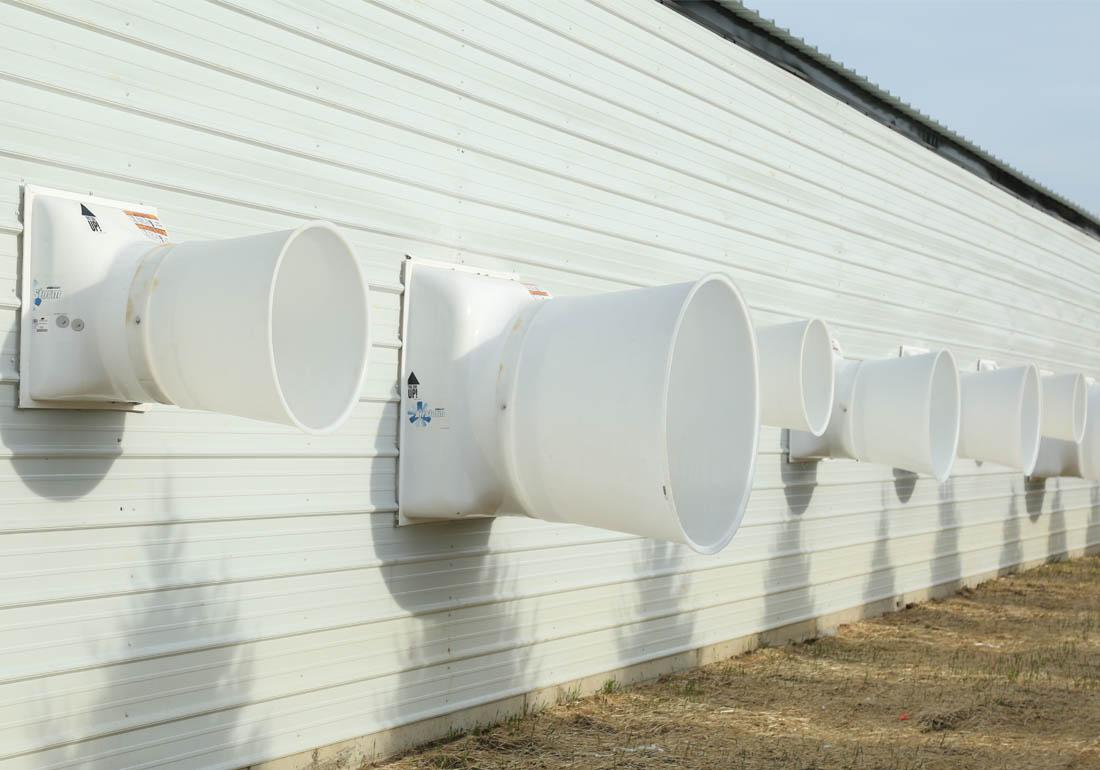 AirStorm fiberglass fans on a farrowing barn