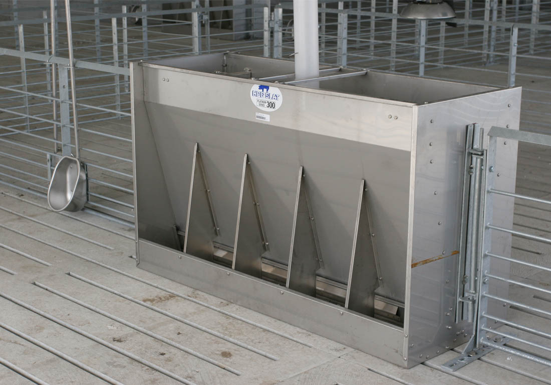 Hog Slat Platinum Series 300 five space wean-to-finish stainless steel feeder.