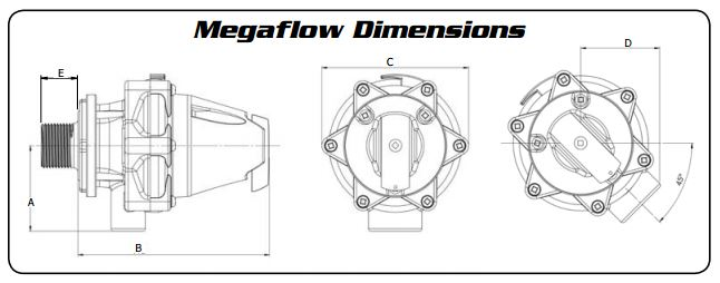 Jobe™ Megaflow™ Trough Float Valve Dimensions Diagram