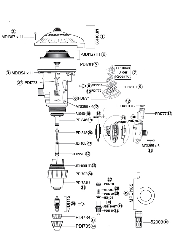 Dosatron DM11F Parts Diagram