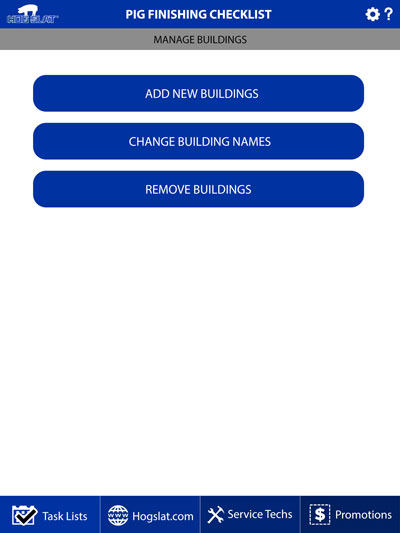 Hog Slat Maintenance Mobile App Manage Buildings Screenshot