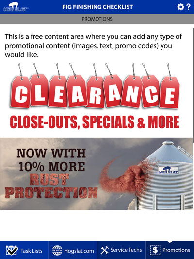 Hog Slat Maintenance Mobile App Promotions Screenshot