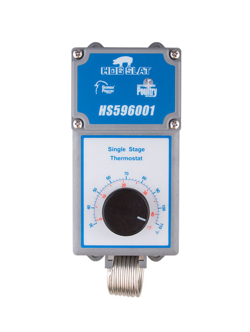 The Hog Slat® single stage HS596001 thermostat (shown) is NEMA 4x rated and suitable for use in all poultry and swine barn applications.