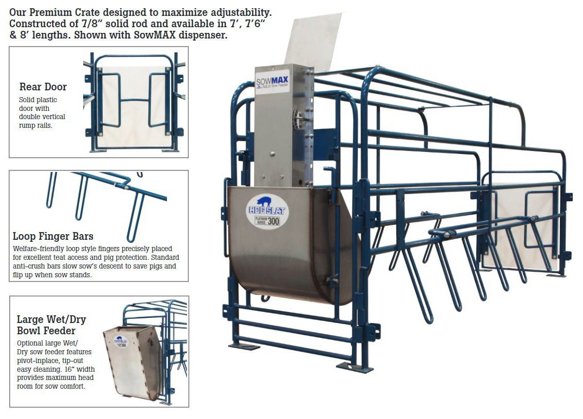 Hog Slat Ultimate farrowing crates are designed to maximize adjustability and feeder options while creating an ideal environment to get pigs off to a quick, healthy start in the farrowing barn.
