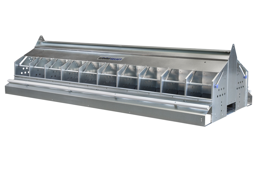GrowerSELECT breeder chicken nests are available in 16 or 20 space models with manual or automatic closure options. (Shown: Automatic closure bar model, Item # GSN-CB2096)