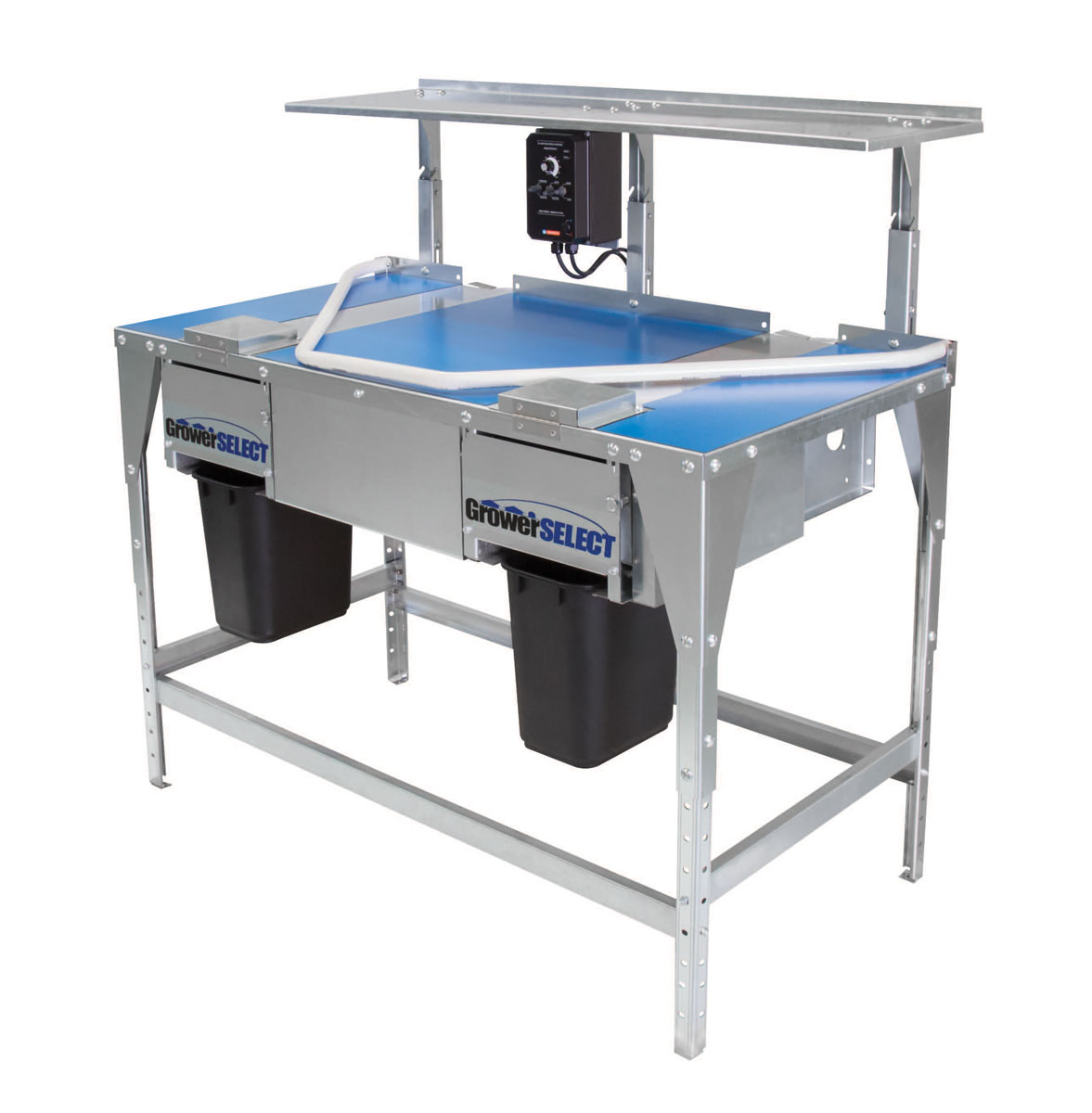 GrowerSELECT Egg Collection Tables are available in side-belt and center-belt models. (Shown: Side-belt egg collection table, Item # GSN-5200)