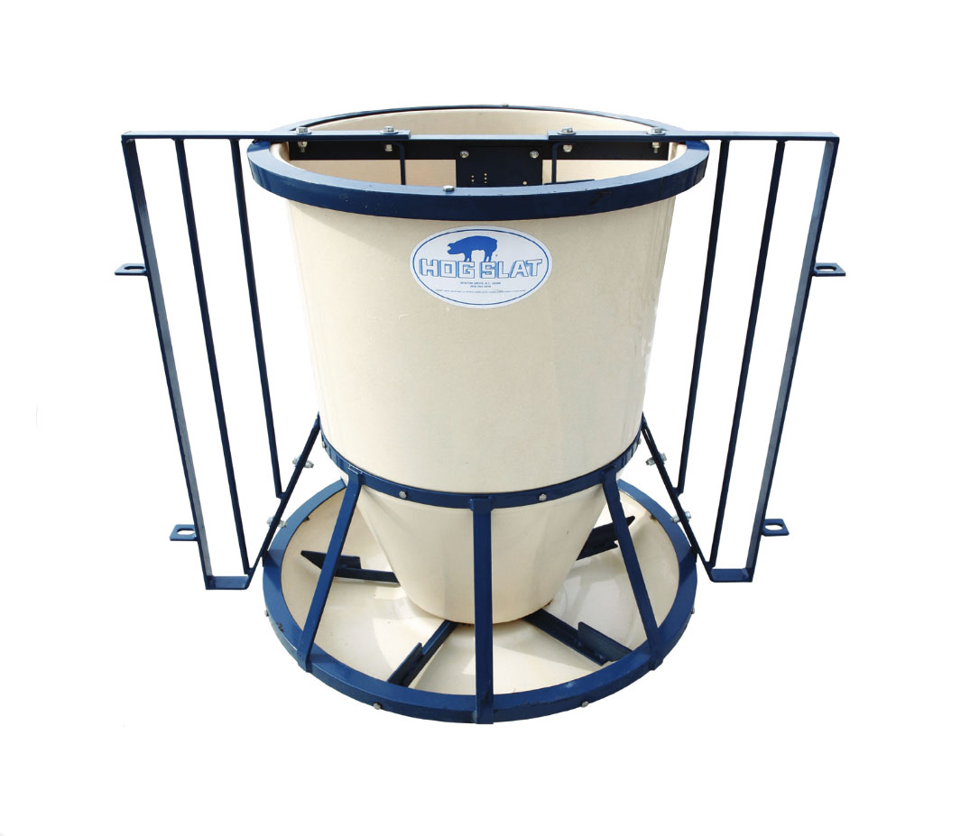 Hog Slat® Round Fiberglass feeders feature heavy-duty powder coated steel frames, smooth hopper interiors; and offer multiple mounting options depending on barn layouts.