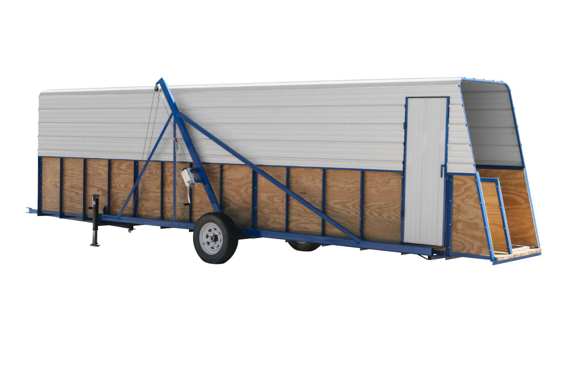 Hog Slat portable loading chutes can be moved as needed to a barn when loading/unloading pigs. Portable loading chutes are available with or without roof covers.