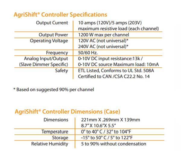 AgriShift® Master Dimmer Specifications