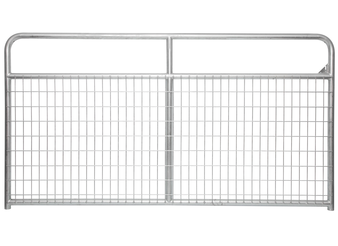 Wire filled cattle gates provide additional coverage across the lower part of the gate.