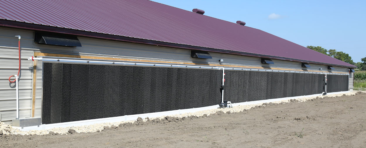 Hog Slat EVAP cool cell systems can meet the needs of the largest modern poultry production buildings. Combined with our TEGO tunnel door system, EVAP cooling systems can be installed directly onto the barn sidewall.