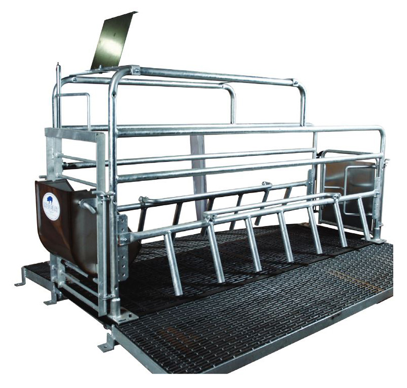 og Slat Advantage farrowing crates are the most versatile pig farrowing solution on the market; available with multiple feeder, watering and side bar options to meet the installation needs of most any producer. (Shown: Advantage farrowing crate with tubular construction, hot-dipped galvanized finish, stainless steel small sow bowl feeder and woven wire/cast iron flooring combination.)