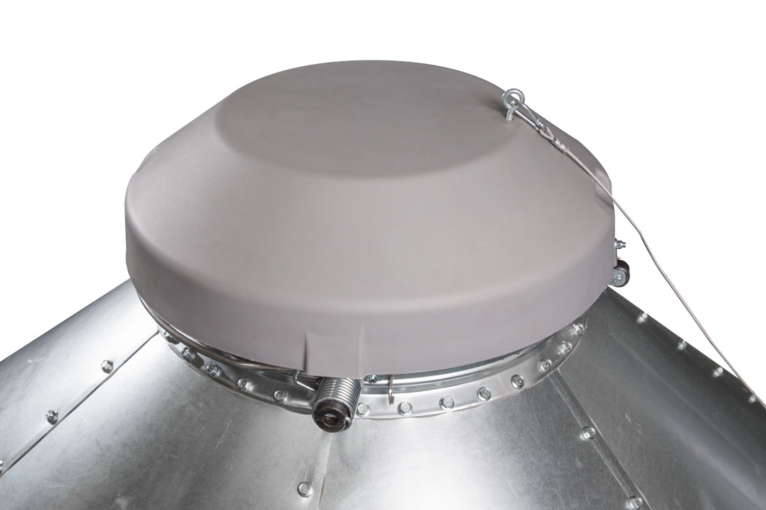 Hog Slat feed bin lids are constructed of high-density polyethylene with UV inhibitors and designed with a dome shape to shed moisture.