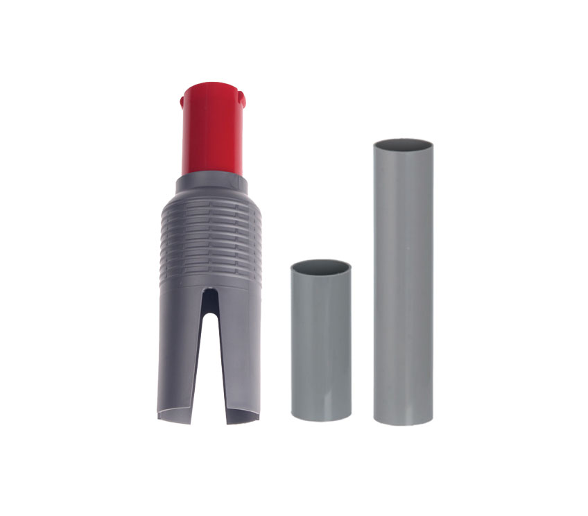 "Three drop sleeve options are available for the Kwik-Start feeder. From left to right, the cone style drop with lock (HS578L); 3.25"" sleeve (HS577-325) and 6"" sleeve (HS577-600)."