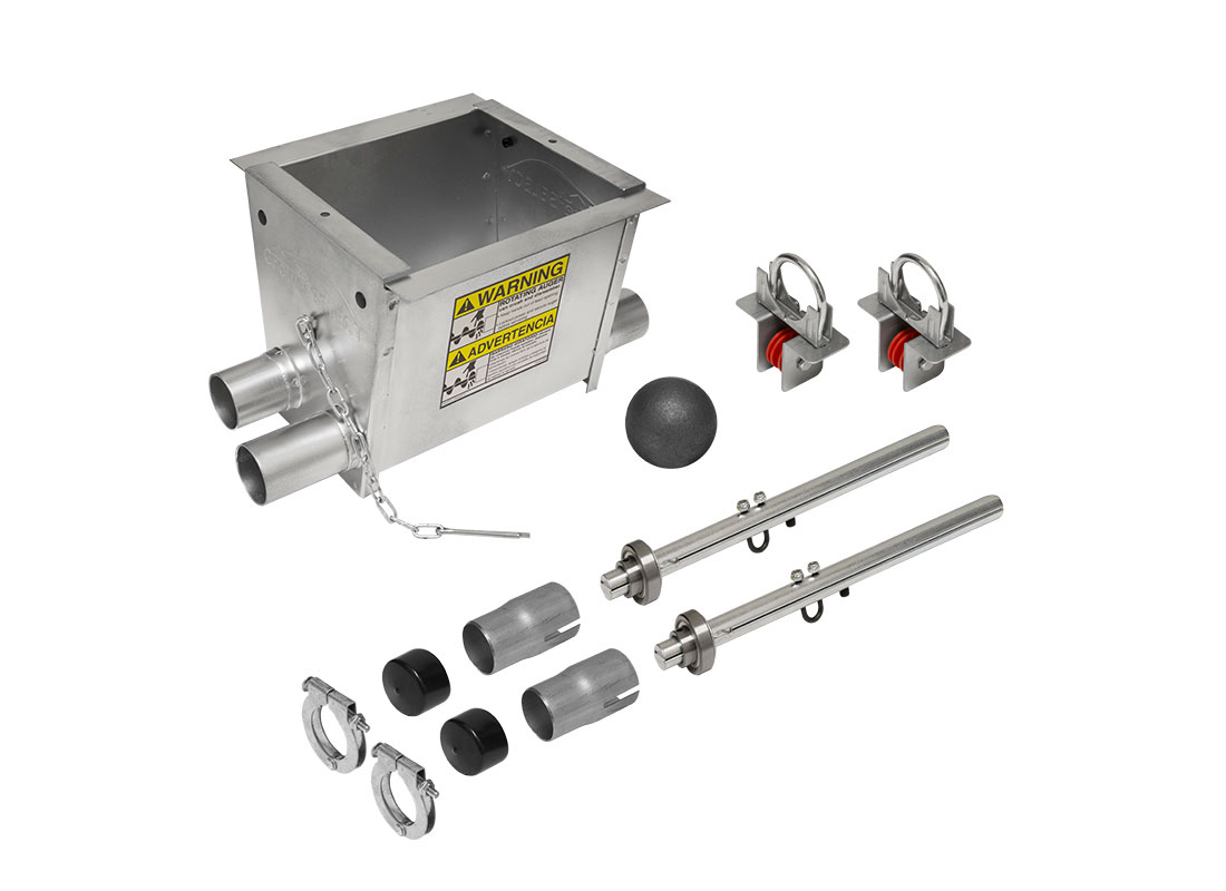 GrowerSELECT® Poultry Hopper Chicken Unloader Kits include all the components needed to connect the hopper to the feed line. HS533KIT, double feed line unloader kit (shown).