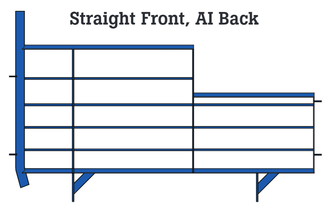 Straight front and AI back gestation stall design. Available in blue powder coated epoxy painted or hot-dipped galvanized finishes.