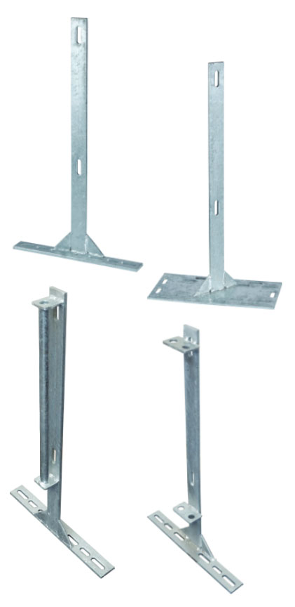 "Hog Slat manufactures four styles of 29"" tall galvanized flat bar bolt-on legs to properly support and secure penning panels in swine confinement gating installations."
