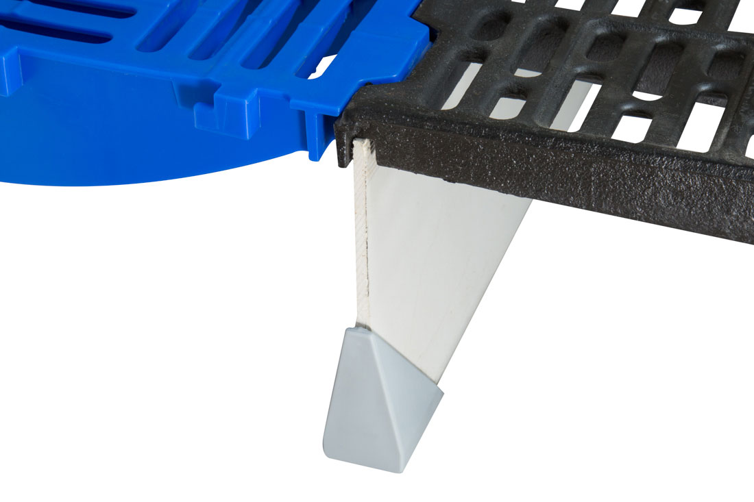 DUO support beams interlock between each dovetailed section of plastic and cast flooring sections to provide support and a solid foundation for farrowing pen and nursery flooring installations.