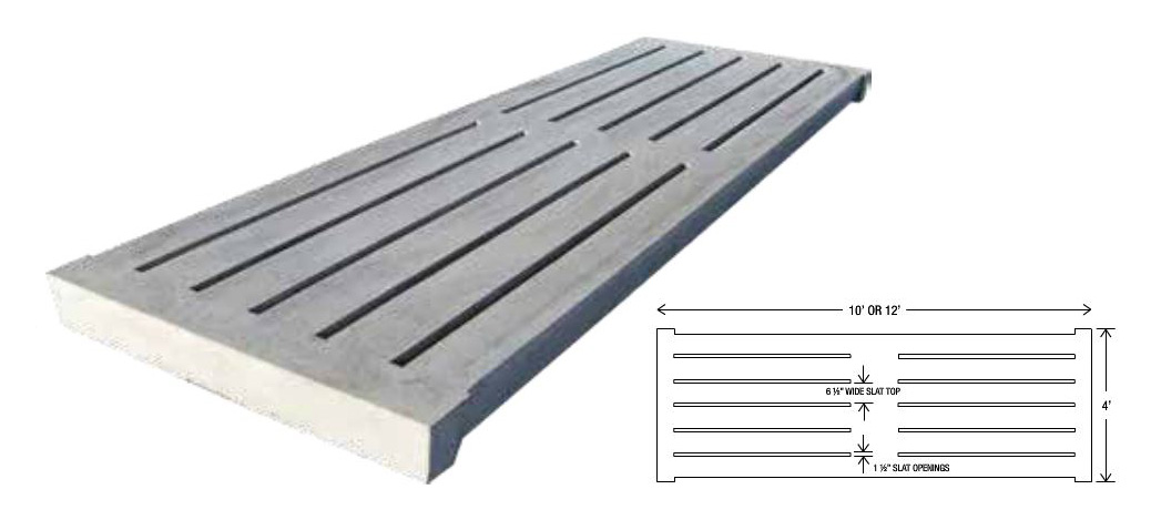 Concrete cattle gang slats are a larger, thicker version of our hog slats, designed for use in dairies and other cattle feeding or livestock barn installations. They are manufactured with the same proven dry-cast process our hog slats are constructed with.