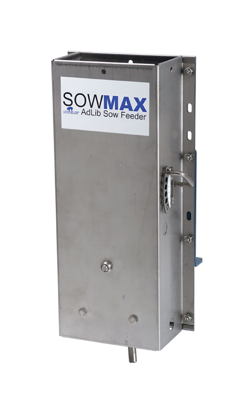 The SowMAX ad-lib feeder is constructed of 100% stainless steel and provides fresh feed on demand to sows when they want to eat, minimizing waste and improving productivity.