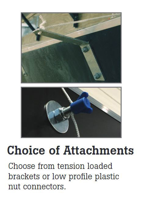 TEGO tunnel doors are available with a choice of an attachment bracket or low profile plastic nut connection that provide easy adjustment ability as cords stretch over time.