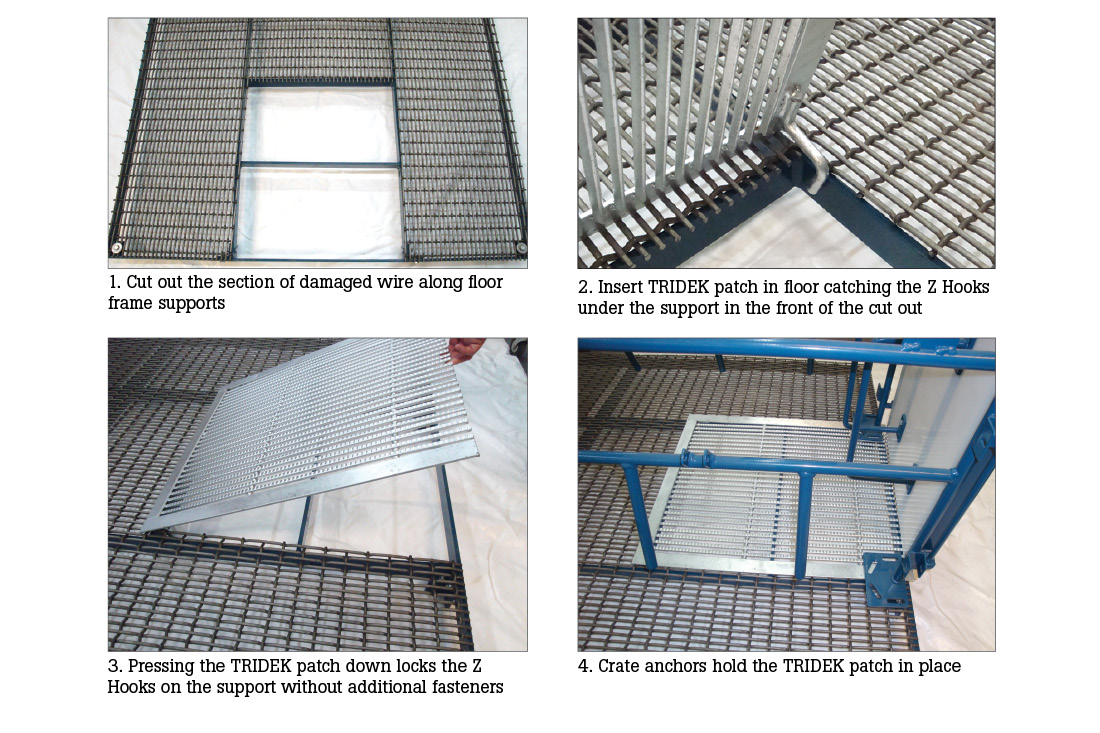 Hog Slat TriDEK farrowing floor patches can be used to replace worn sections of older farrowing floors quickly and easily. TriDEK floor patches are available in a variety of sizes to fit various style floor support frames.