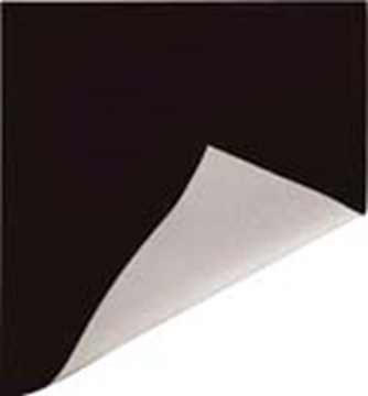 Picture of 4' Black/White Poly Curtain  4.2 oz, Double Hem