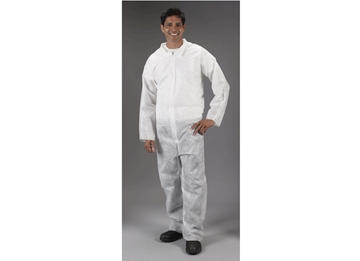 Picture of Disposable Lightweight Poly Coveralls (White) - Each & Cases of 25