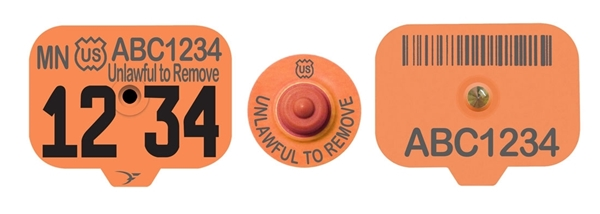 USDA Premise ID (PIN) Swine Ear Tags - Orange (w/ Management Numbers)
