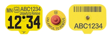 USDA Premise ID (PIN) Swine Ear Tags - Yellow (w/ Management Numbers)