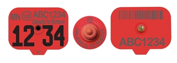 USDA Premise ID (PIN) Swine Ear Tags - Red (w/ Management Numbers)