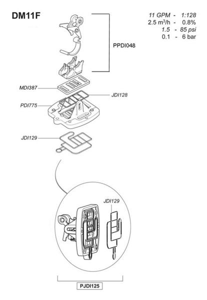 Dosatron® DM11F Actuator Sub-Assembly & Gasket